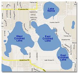 Map of the Crooked Lakes Eustis Florida
