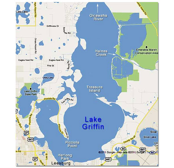 Map Of Lake Griffin In The Harris Chain Of Lakes Central